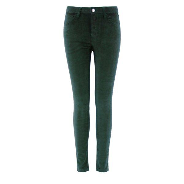 Pantalone Skinny in velluto a costine VERDE - vista frontale | Nicla