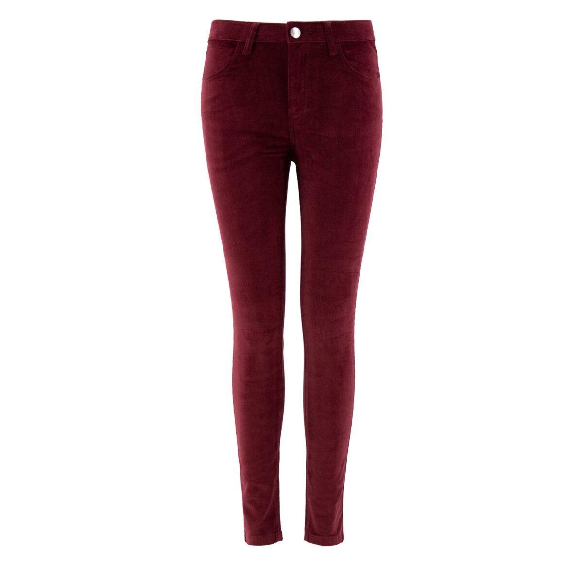 Pantalone Skinny in velluto a costine BORDEAUX - vista frontale | Nicla