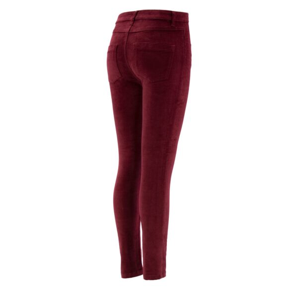 Pantalone Skinny in velluto a costine BORDEAUX - vista laterale | Nicla