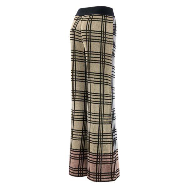 Pantalone Palazzo tessuto maglia lurex GRIGIO - vista laterale | Nicla