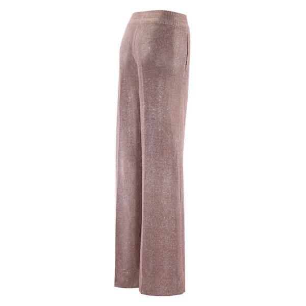 Pantalone Palazzo tessuto glitter ROSA - vista laterale | Nicla