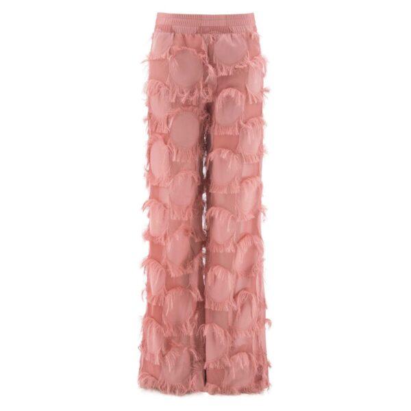 Pantalone Palazzo con frange ROSA - vista frontale | Nicla