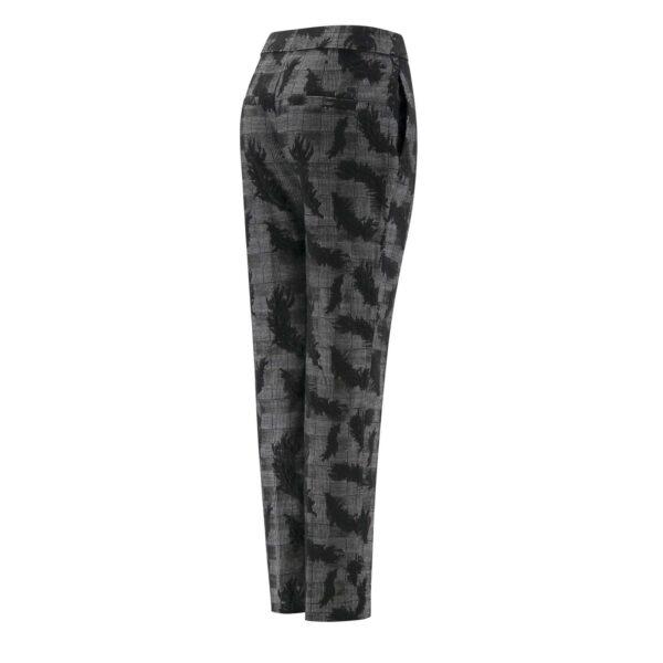 Pantalone Straight tessuto Principe di Galles con ricamo NERO - vista laterale | Nicla