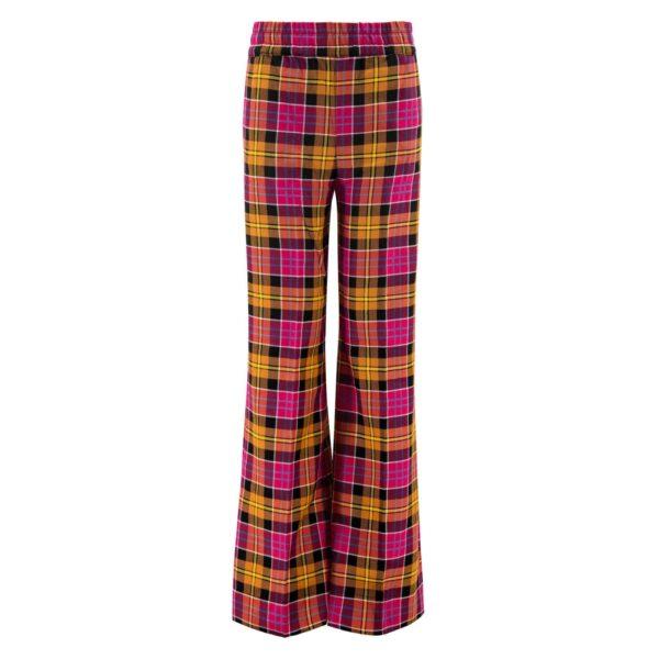 Pantalone Palazzo con fantasia check colorata ROSSO - vista frontale | Nicla