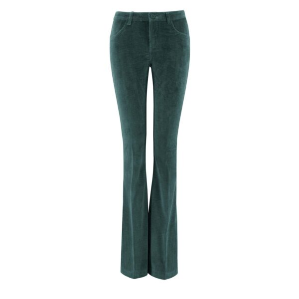 Pantalone Bootcut in velluto a costa larga VERDE - vista frontale | Nicla