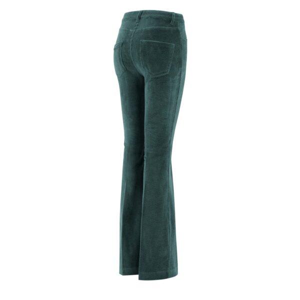 Pantalone Bootcut in velluto a costa larga VERDE - vista laterale | Nicla