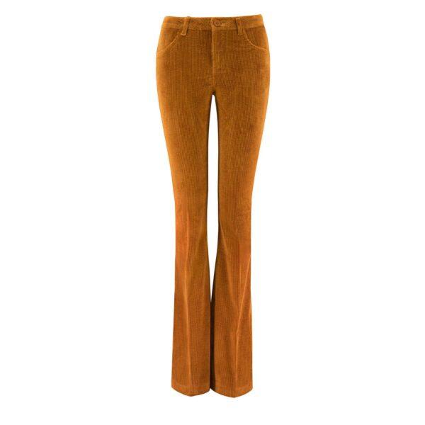 Pantalone Bootcut in velluto a costa larga MARRONE - vista frontale | Nicla