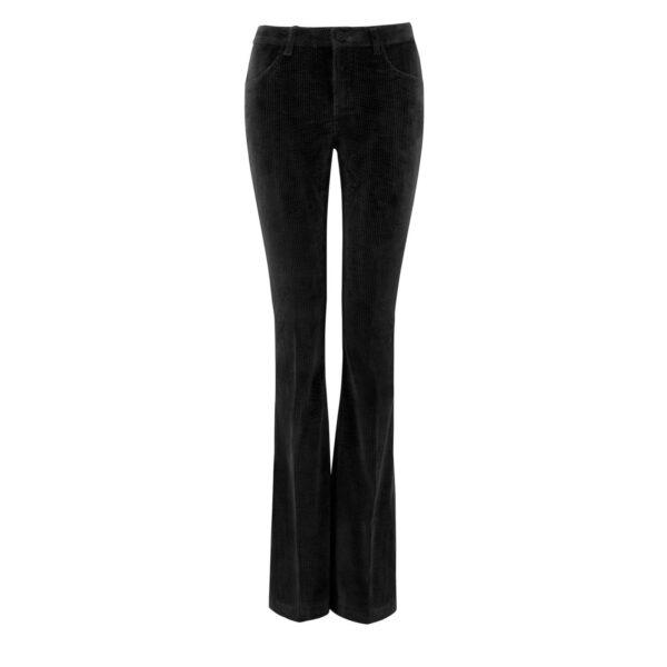 Pantalone Bootcut in velluto a costa larga NERO - vista frontale | Nicla