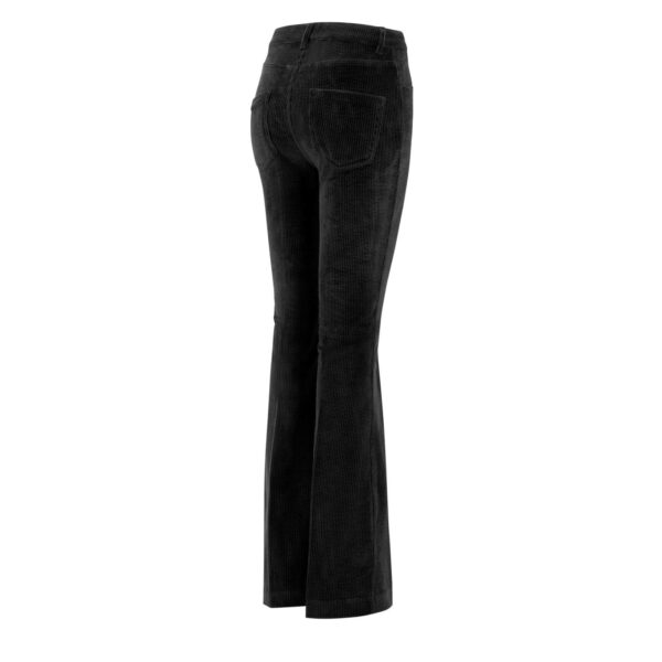 Pantalone Bootcut in velluto a costa larga NERO - vista laterale | Nicla