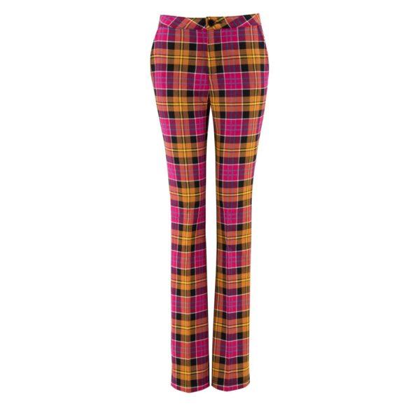 Pantalone Bootcut con fantasia check colorata ROSSO - vista frontale | Nicla
