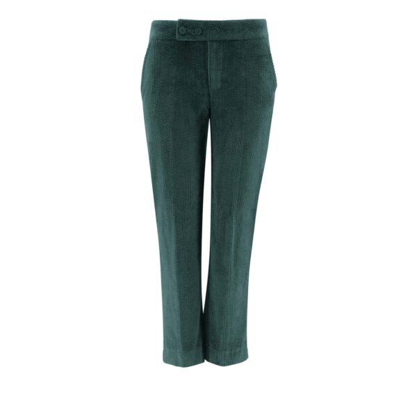 Pantalone Classic in velluto a costa larga VERDE - vista frontale   Nicla
