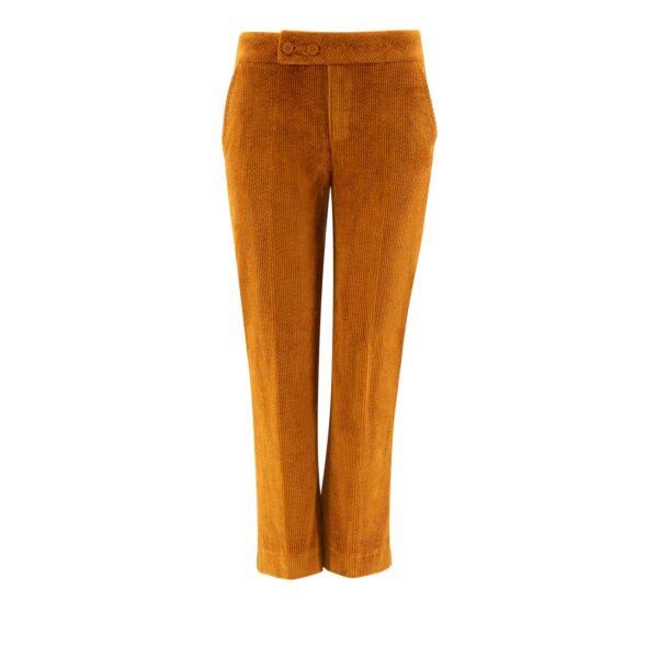 Pantalone Classic in velluto a costa larga MARRONE - vista frontale   Nicla