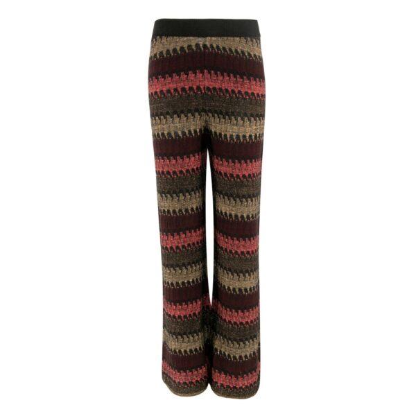 Pantalone Wide leg in maglia con lurex VIOLA - vista frontale   Nicla