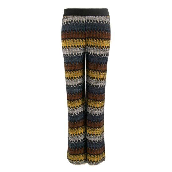 Pantalone Wide leg in maglia con lurex GIALLO - vista frontale   Nicla