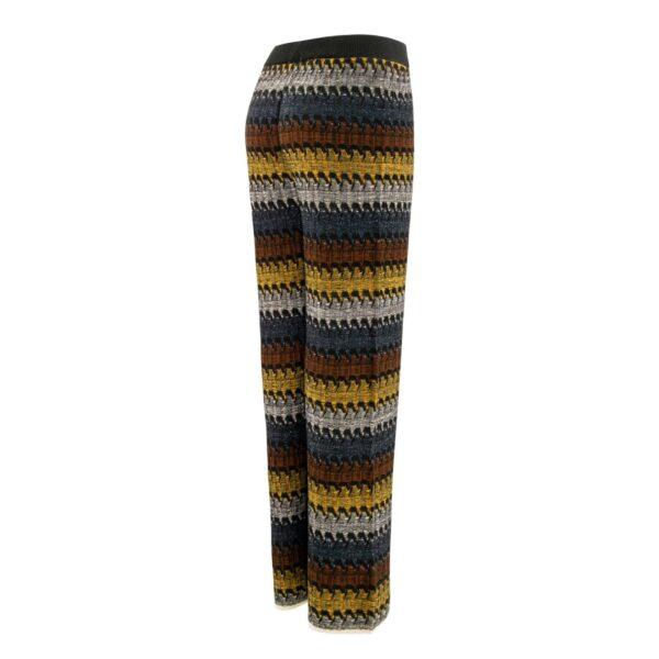 Pantalone Wide leg in maglia con lurex GIALLO - vista laterale   Nicla