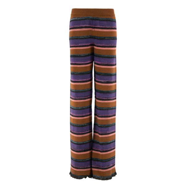 Pantalone Wide leg in maglia con lurex ROSSO - vista frontale   Nicla