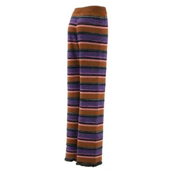 Pantalone Wide leg in maglia con lurex ROSSO - vista laterale   Nicla