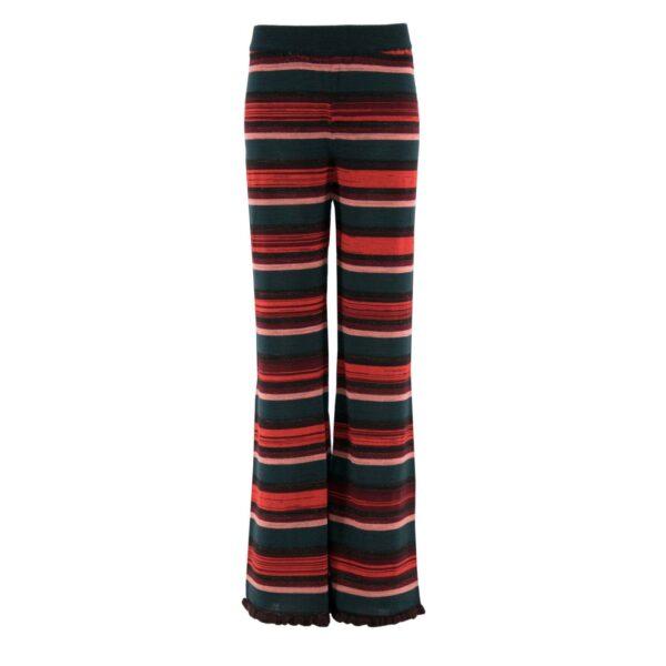 Pantalone Wide leg in maglia VERDE - vista frontale   Nicla