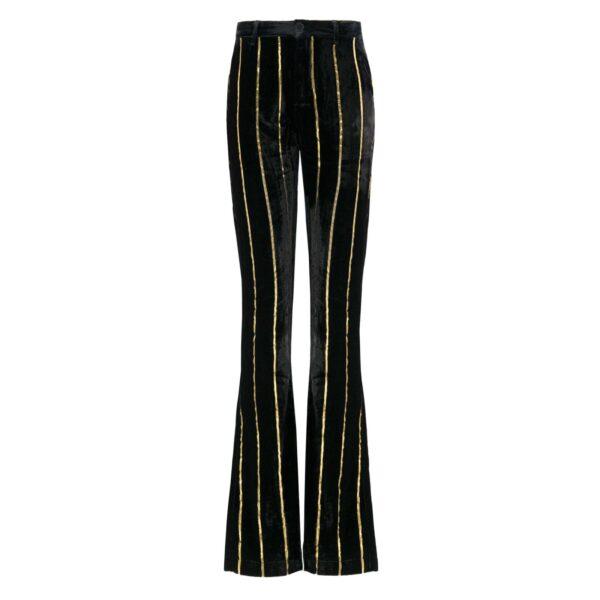 Pantalone in Velluto di Viscosa rigato oro NERO - vista frontale   Nicla