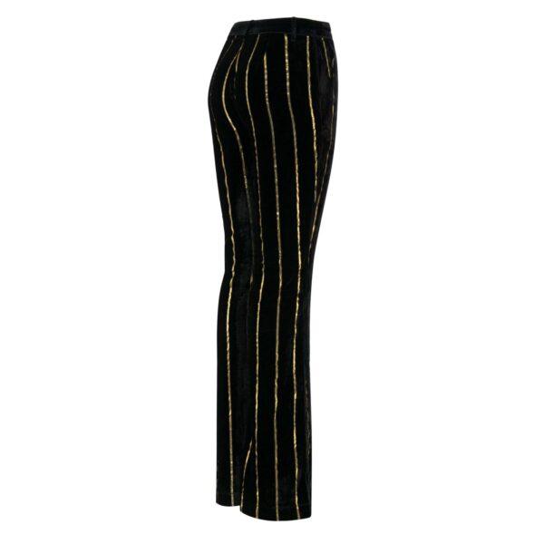 Pantalone in Velluto di Viscosa rigato oro NERO - vista laterale   Nicla