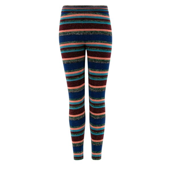Pantalone Skinny in maglia con lurex Blu - vista frontale   Nicla