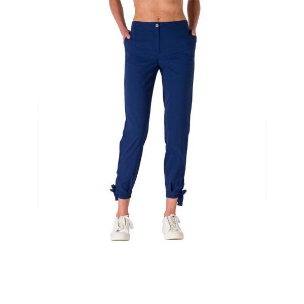 Pantalone Straight con fiocchetti Blu - vista laterale | Nicla