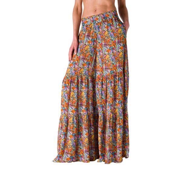 Pantskirt lungo a fantasia floreale Multicolor - vista laterale | Nicla