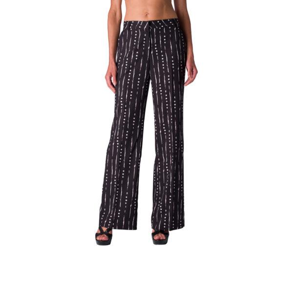 Pantalone Wide leg a fantasia geometrica Nero - Nicla