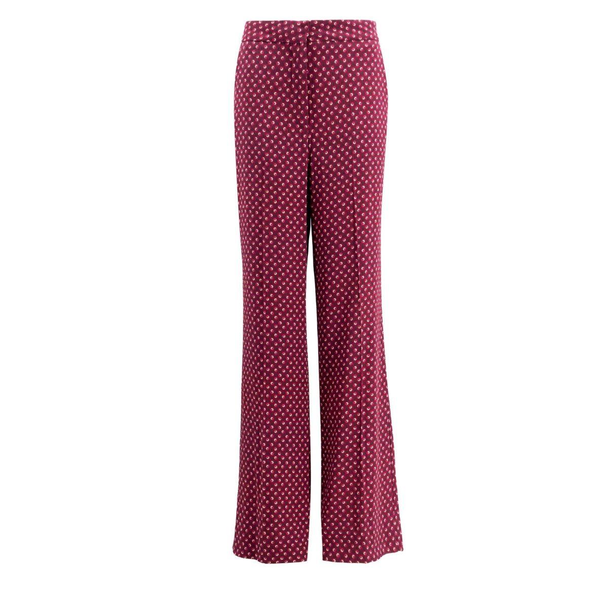 Pantalone Wide leg a fantasia microfloreale Rosso - vista frontale | Nicla