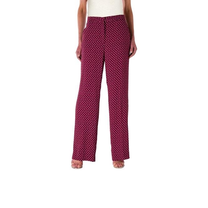 Pantalone Wide leg a fantasia microfloreale Rosso - Nicla