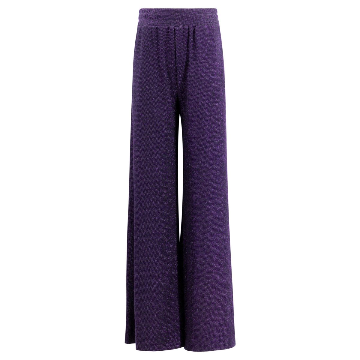 Pantalone Palazzo in lurex Viola - vista frontale | Nicla
