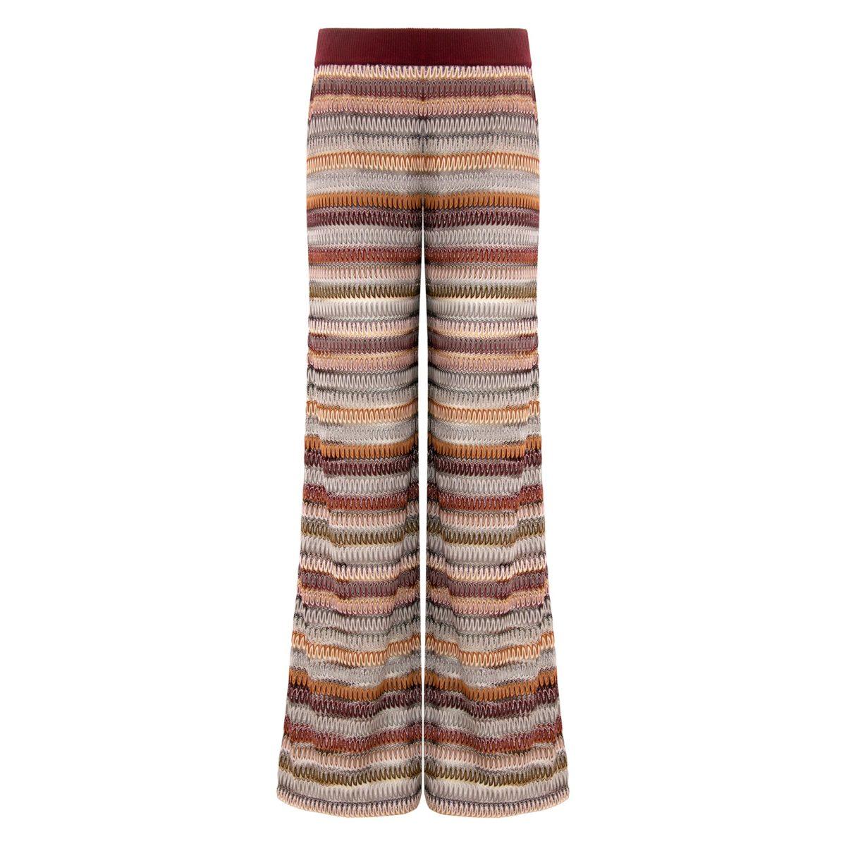 Pantalone Wide leg a maglia raschel Multicolor - vista frontale | Nicla