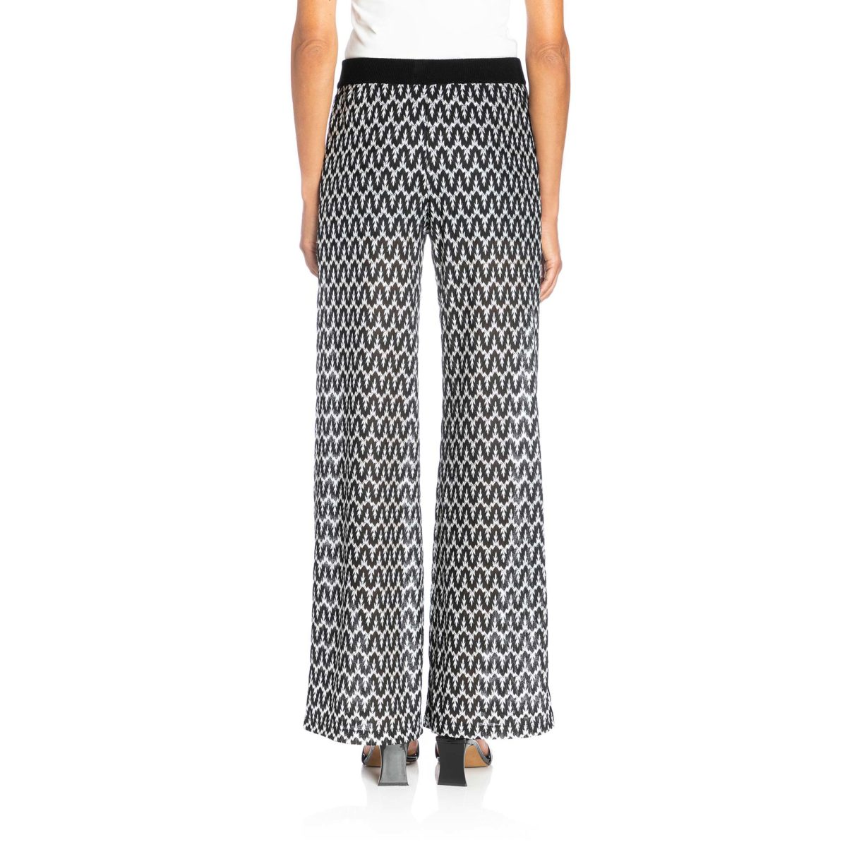 Pantalone Wide leg a maglia raschel Bianco/Nero - Nicla