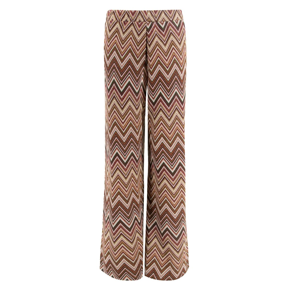 Pantalone Wide leg in maglia Bordeaux - vista frontale | Nicla