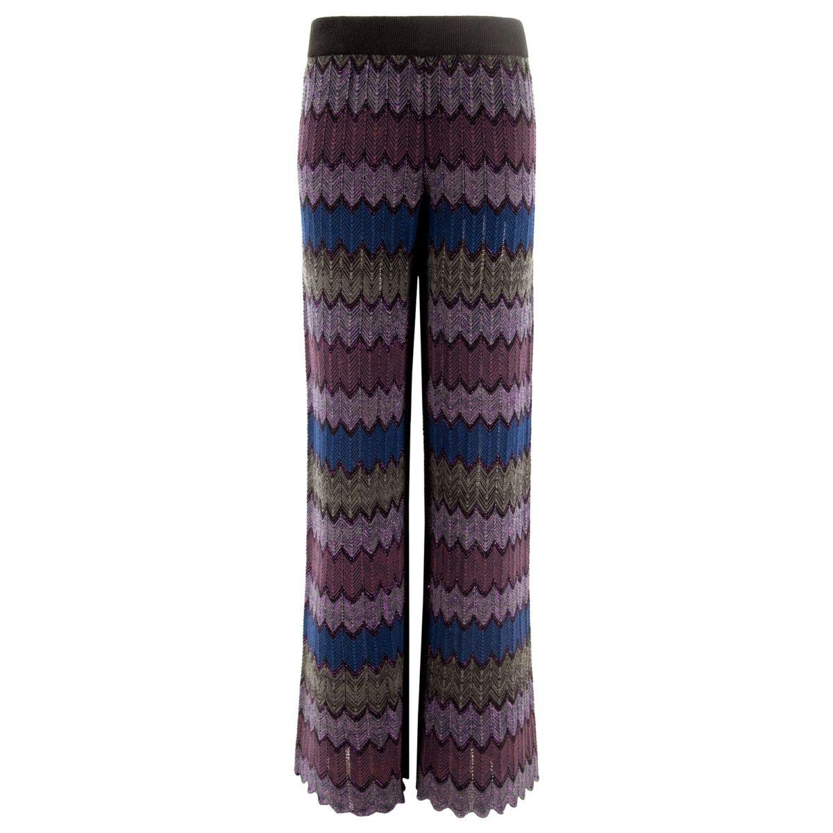 Pantalone Wide leg in maglia Viola/Blu - vista frontale | Nicla