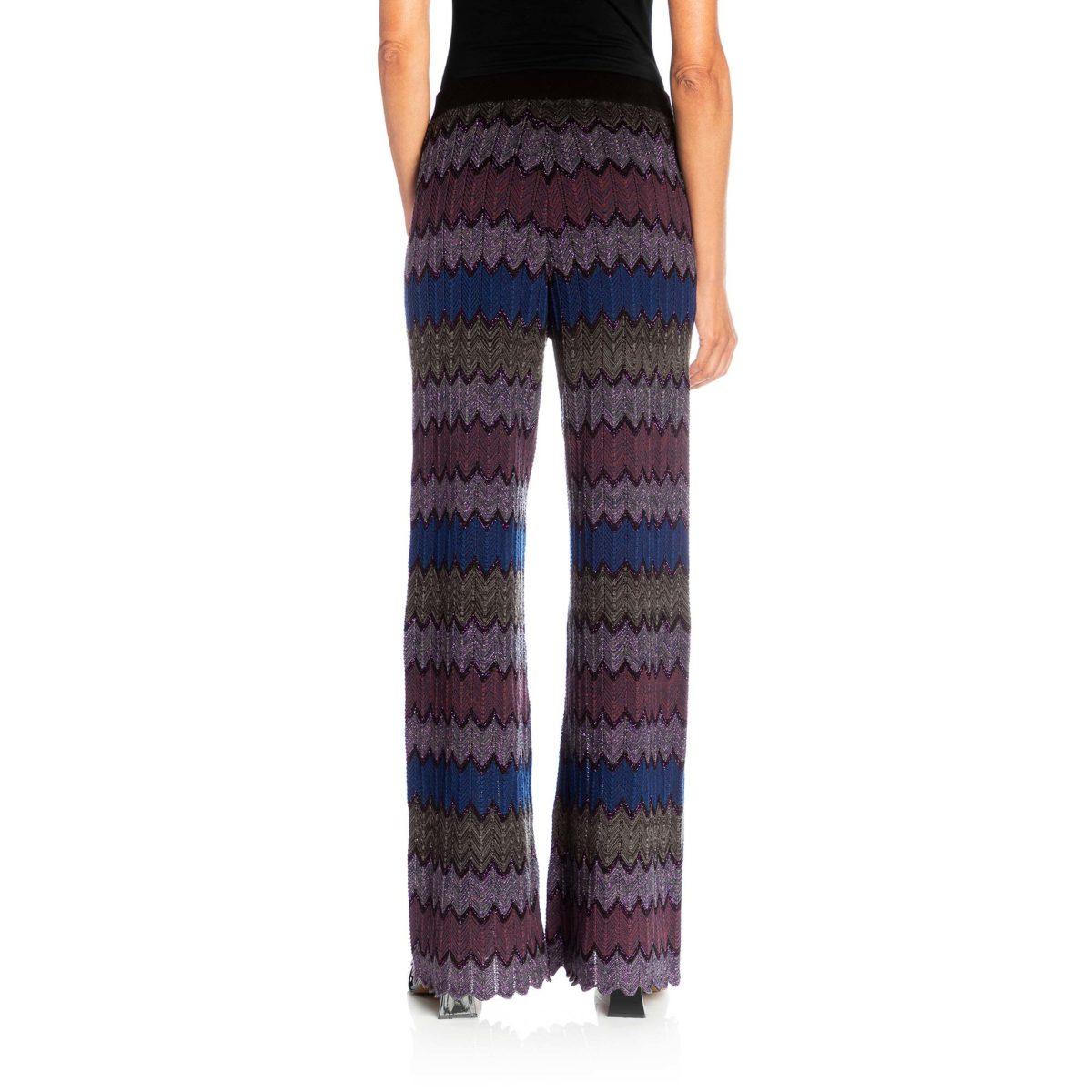 Pantalone Wide leg in maglia Viola/Blu - Nicla
