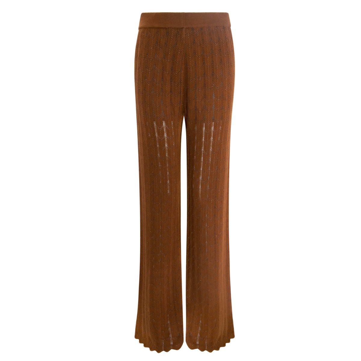 Pantalone Wide leg in maglia Rame - vista frontale | Nicla