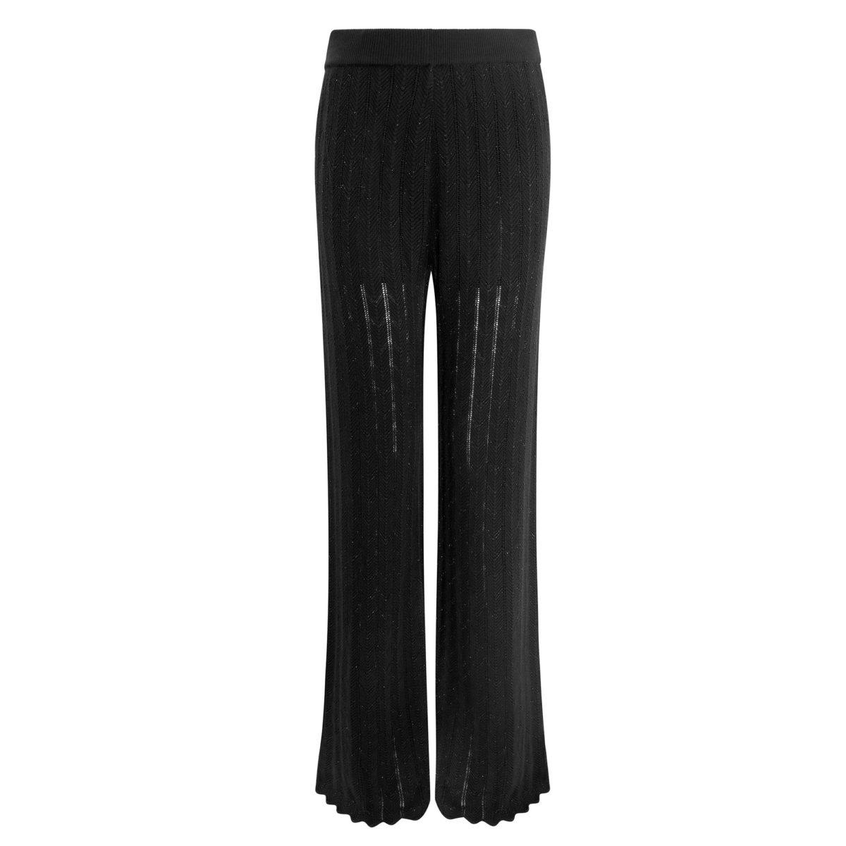 Pantalone Wide leg in maglia Nero - vista frontale   Nicla