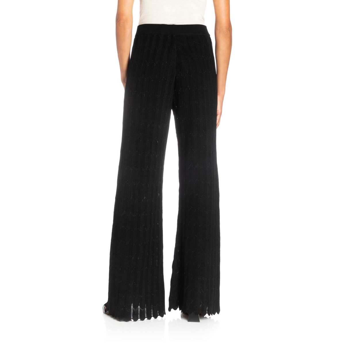 Pantalone Wide leg in maglia Nero - Nicla