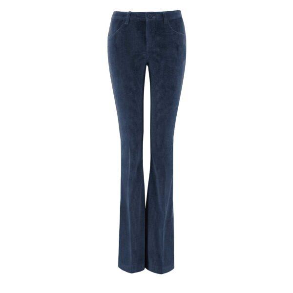 Pantalone Bootcut in velluto a costa larga Blu - vista frontale | Nicla