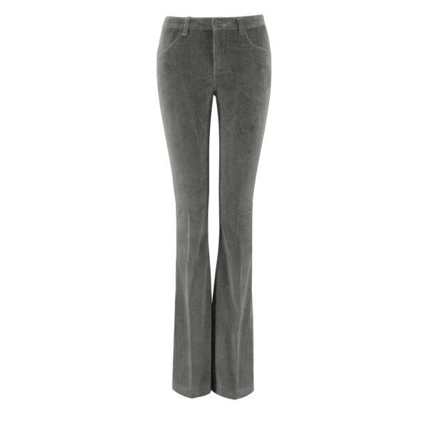 Pantalone Bootcut in velluto a costa larga Grigio - vista frontale | Nicla