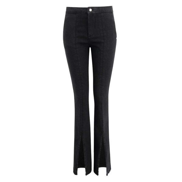 Pantalone Bootcut in denim con spacco Denim Nero - Nicla