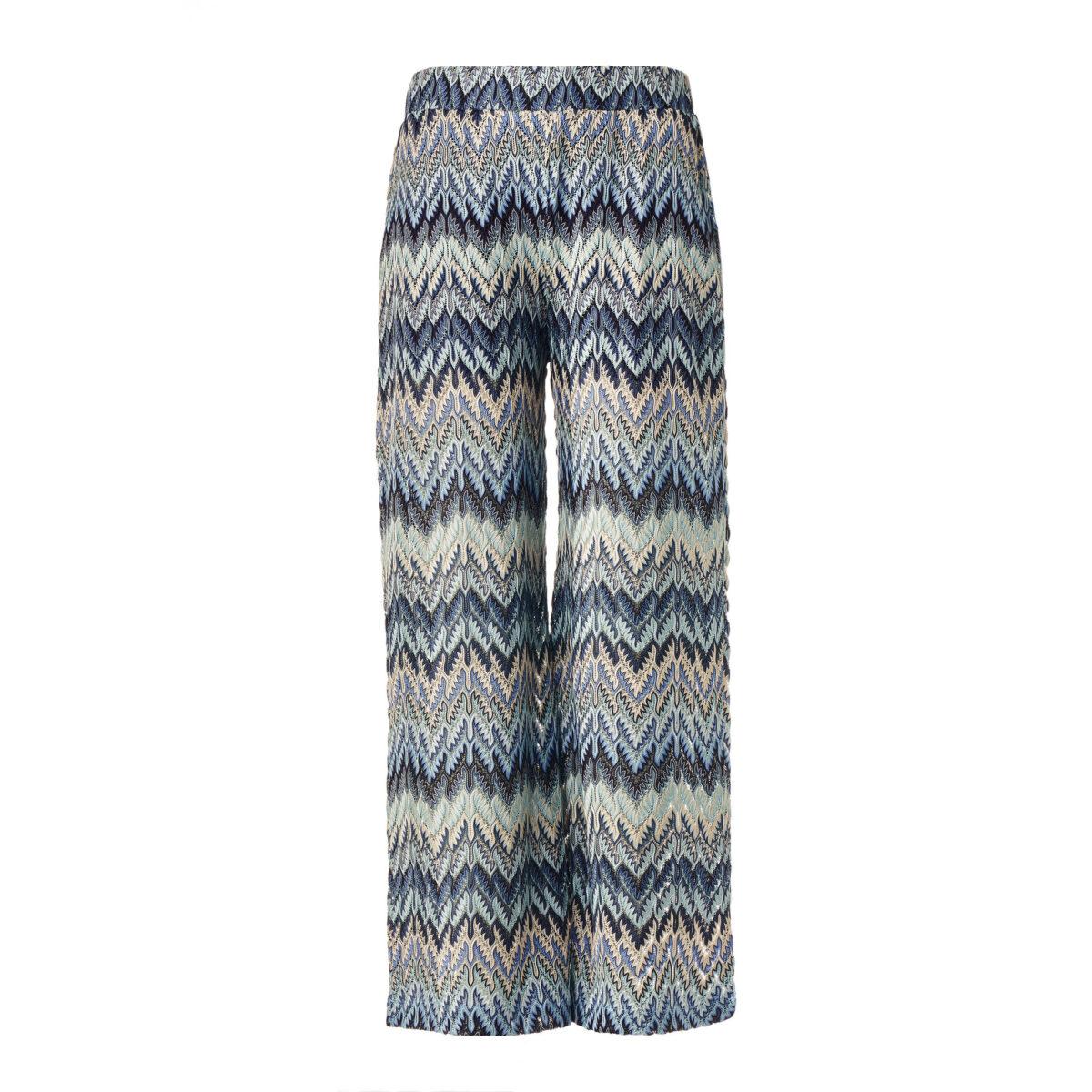 Pantalone Cropped a maglia raschel Blu - vista frontale | Nicla
