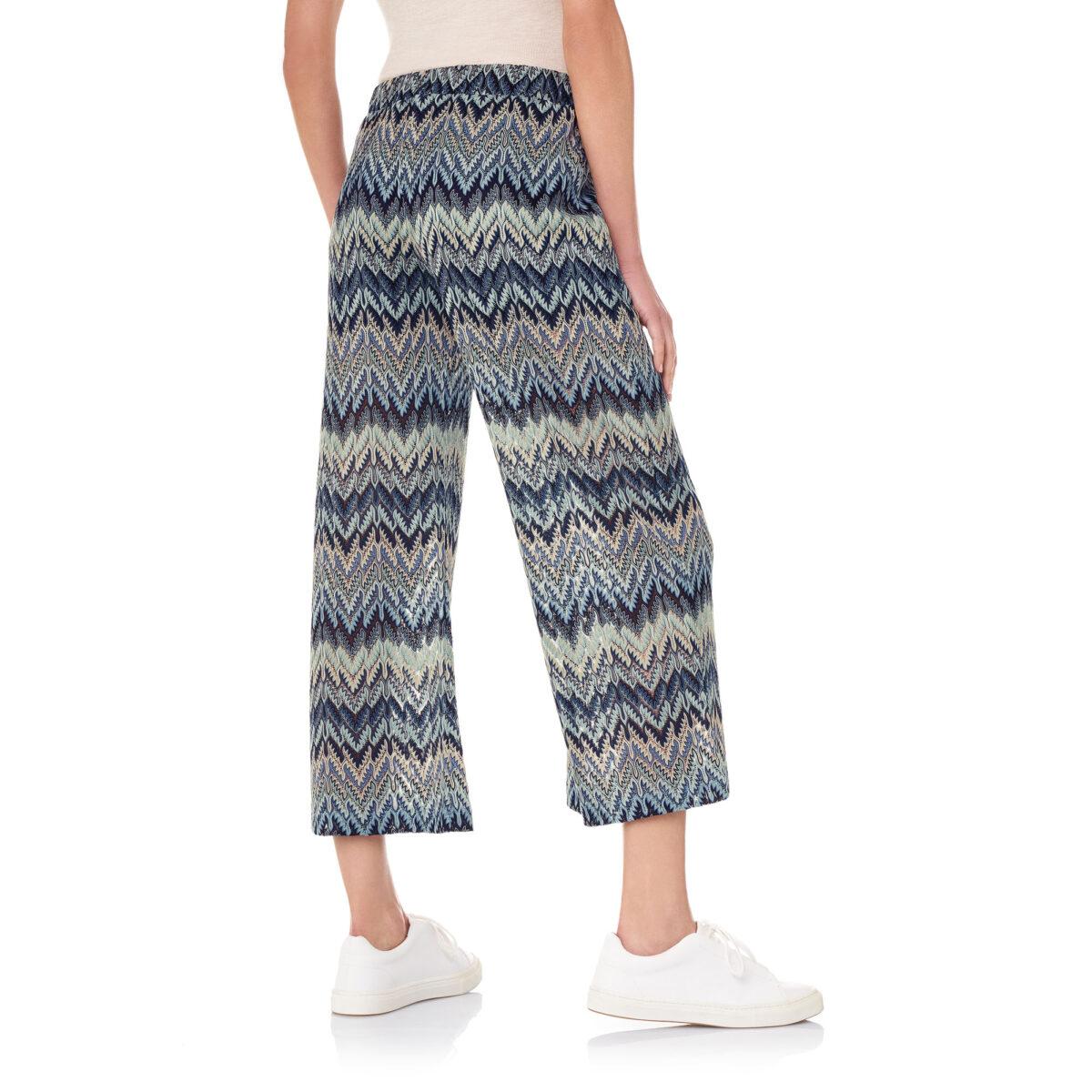 Pantalone Cropped a maglia raschel Blu - Nicla