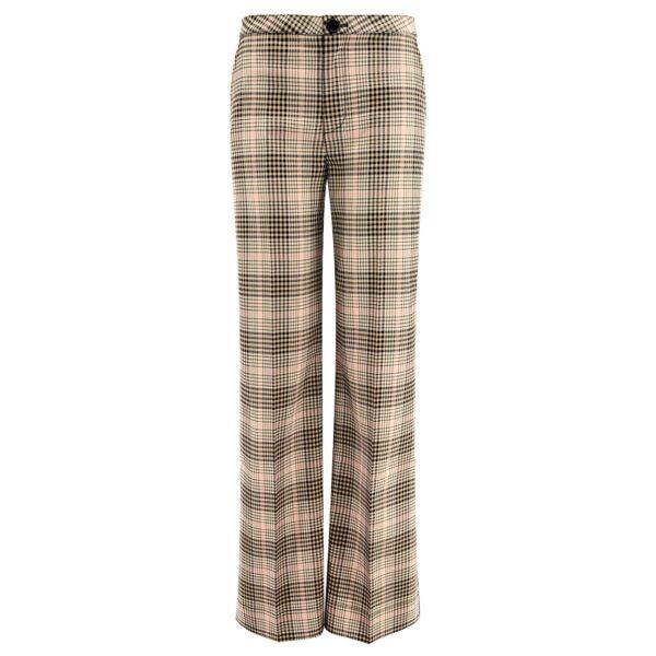 Pantalone Wide leg a fantasia check Nero/Rosa - vista frontale | Nicla