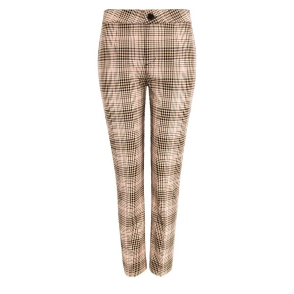 Pantalone Straight a fantasia check Nero/Rosa - vista frontale | Nicla