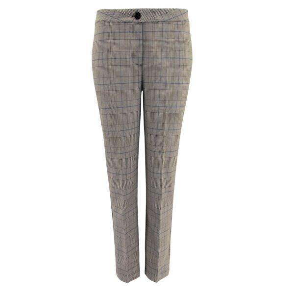 Pantalone Straight a fantasia check Nero/Blu - vista frontale | Nicla