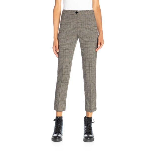 Pantalone Straight a fantasia check Nero/Blu - Nicla