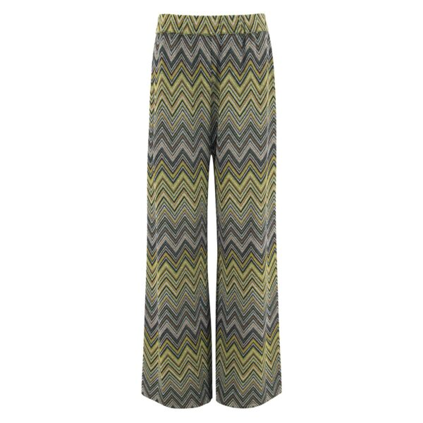 Pantalone Wide leg in maglia Verde - vista frontale | Nicla