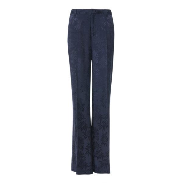 Pantalone Wide leg a fantasia foliage Blu - vista frontale | Nicla
